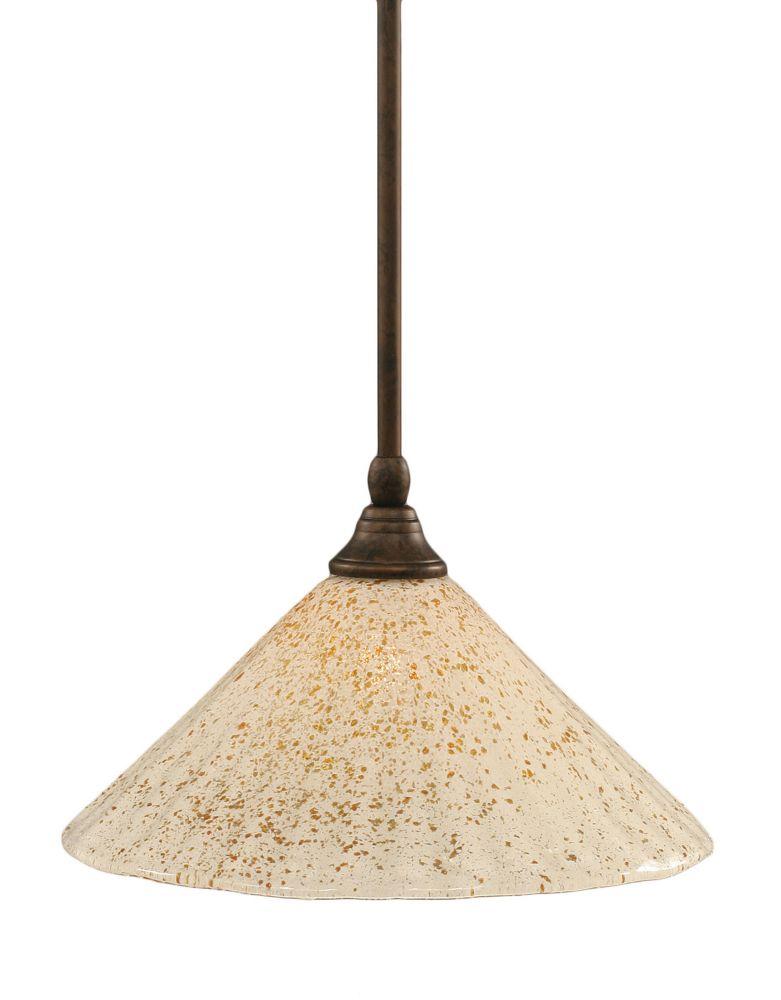 Concord 1 lumière au plafond Bronze Pendeloque à incandescence avec un cristal en verre d'or