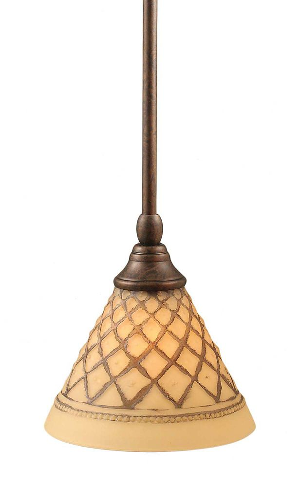 Concord 1 Light Ceiling Bronze Incandescent Pendant with a Chocolate Icing Glass