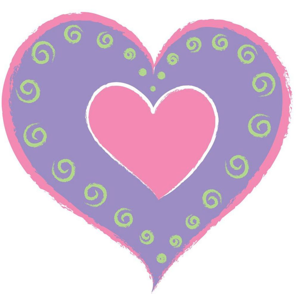 Purple Heart of Hearts Wall Appliques