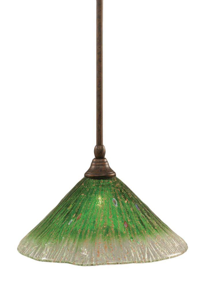 Concord 1 lumière au plafond Bronze Pendeloque à incandescence avec un cristal en verre vert