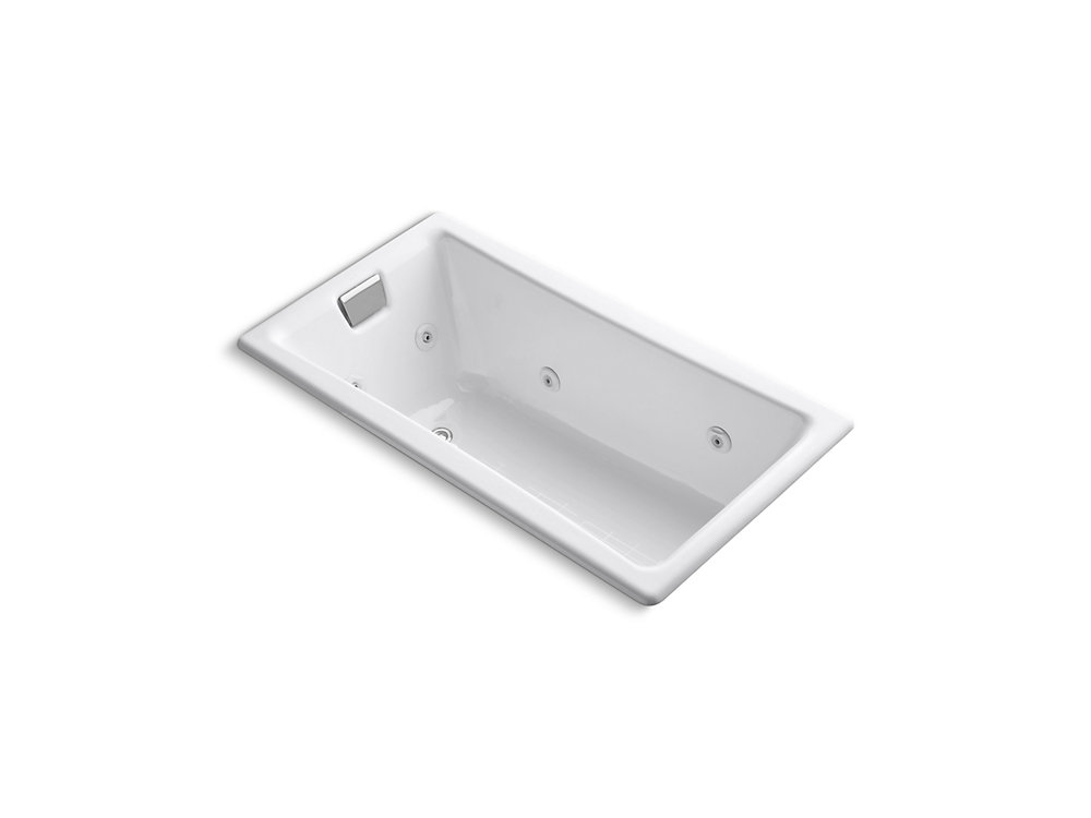 """Tea-for-Two(R) 60"""" x 32"""" drop-in whirlpool with reversible drain and heater without trim"""