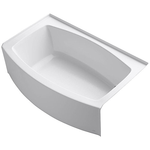 "Expanse(R) 60"" x 32-38"" alcove bath with curved integral apron and right-hand drain"
