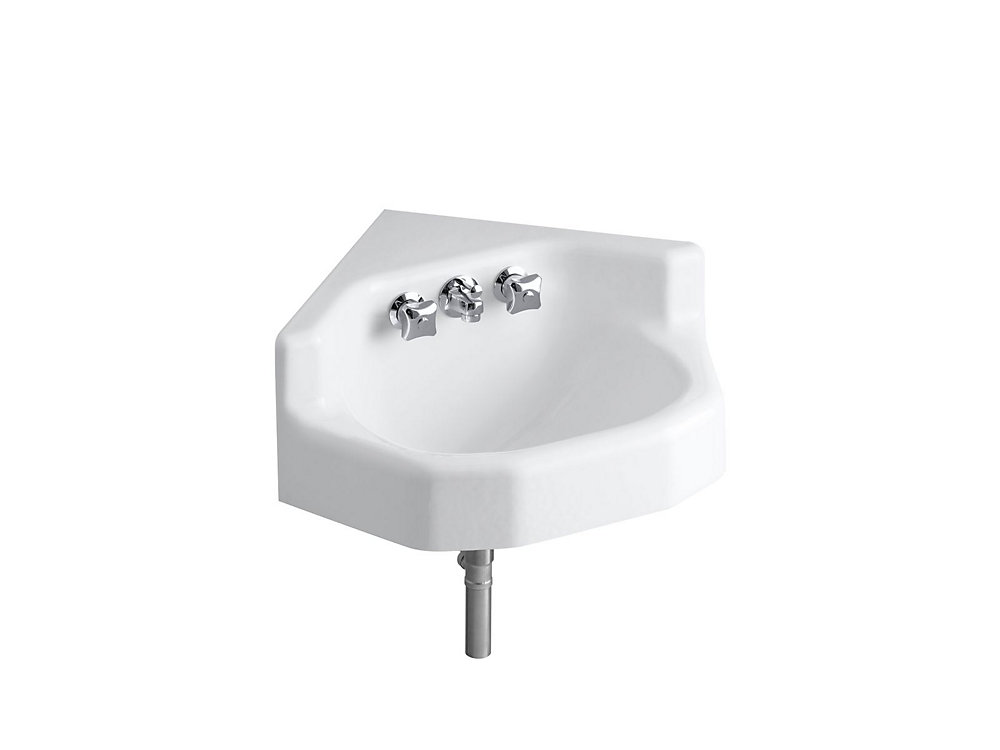 Marston(TM) 16 inch x 16 inch corner wall-mount/shelf back bathroom sink with factory-installed Triton(R) faucet