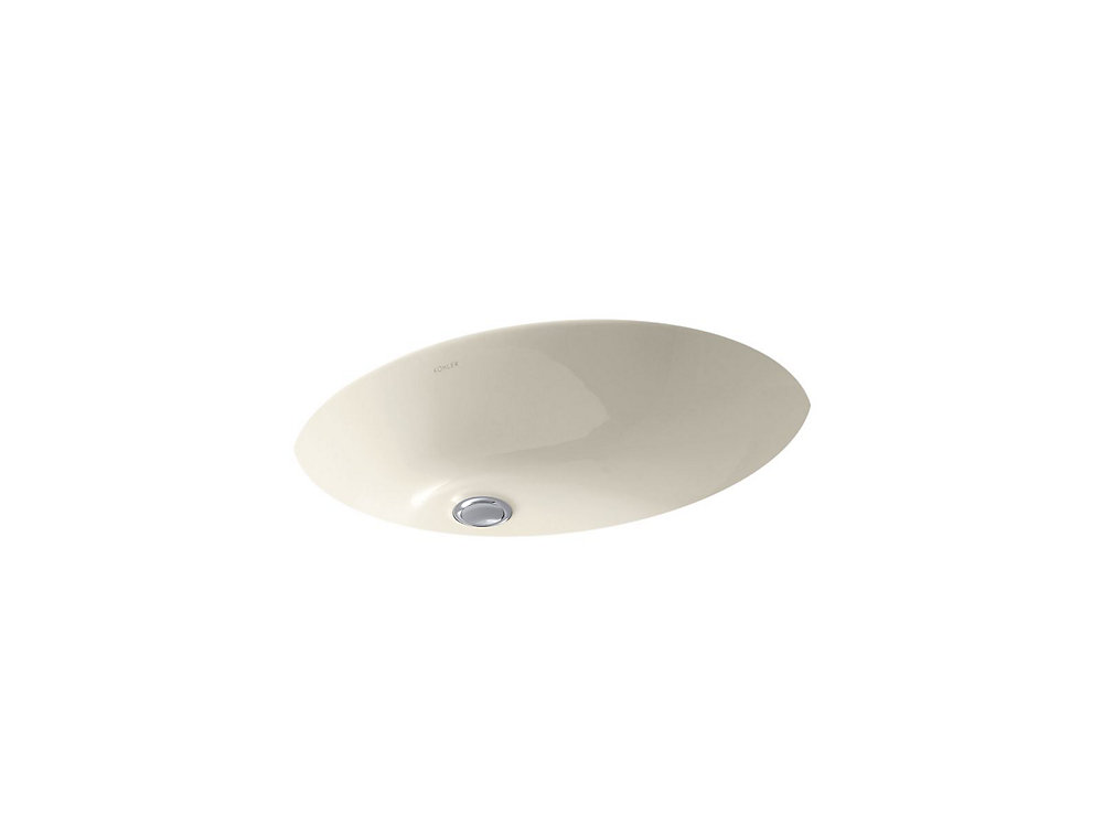 Caxton(R) Oval 19 inch x 15 inch under-mount bathroom sink with overflow and clamp assembly