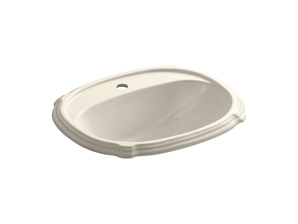 Portrait(R) drop-in bathroom sink with single faucet hole