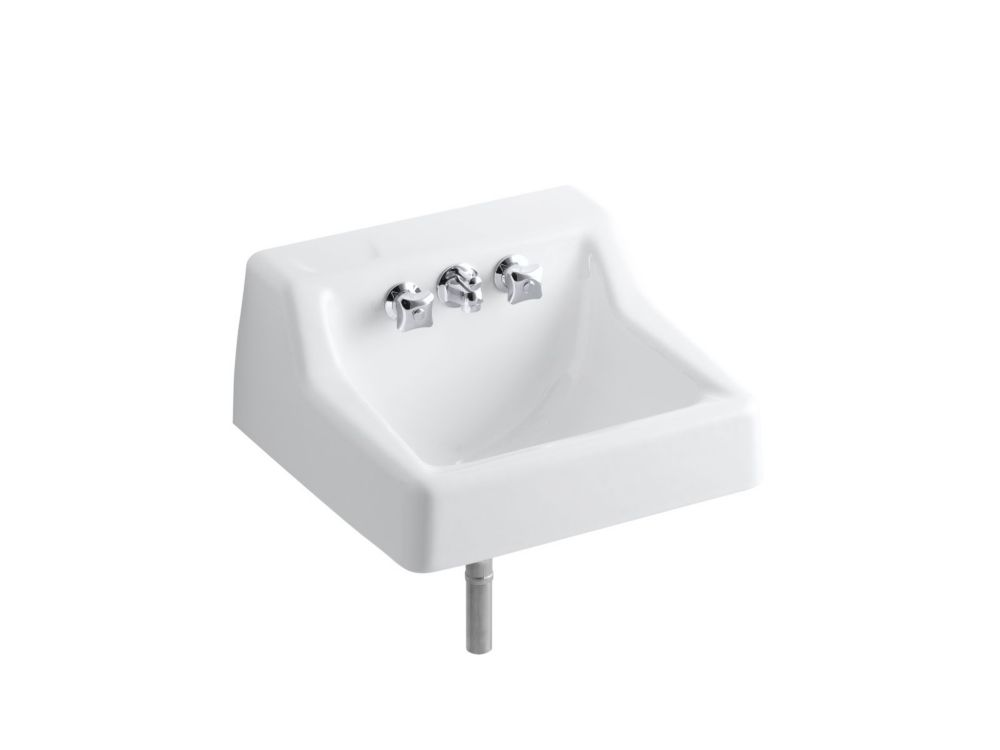 KOHLER Hampton(TM) wall-mounted commercial bathroom sink with factory-installed Triton(R) faucet, 19 inch x 17 inch