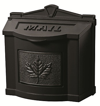 Wallmount Mailbox with Leaf Accent All Black