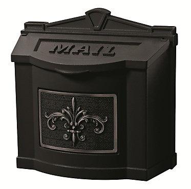 Wallmount Mailbox with Fleur de Lis Accent All Black