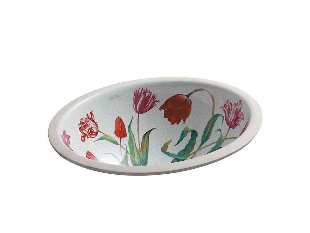 Caxton Undercounter Bathroom Sink with Fables & Flowers Design