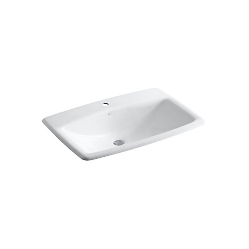 Man's Lav(TM) drop-in bathroom sink with single faucet hole