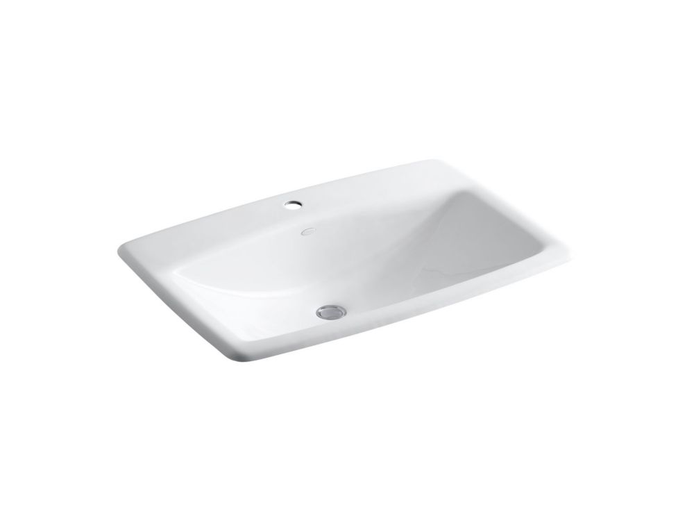 KOHLER Man's Lav(TM) drop-in bathroom sink with single faucet hole