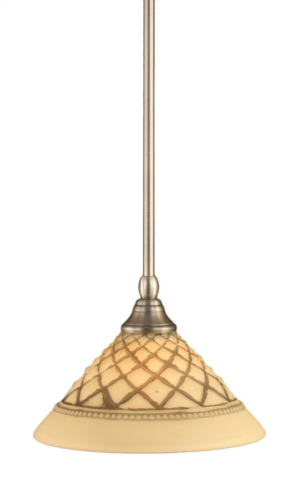 Concord 1-Light Ceiling Brushed Nickel Pendant with a Chocolate Icing Glass