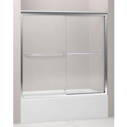 KOHLER Fluence(R) Frameless Bypass Bath Door With Falling Lines Glass