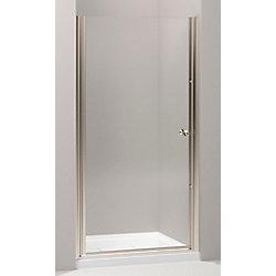 KOHLER Porte de douche pivotante Fluence, 65 1/2 x 30 - 31 1/2 po, avec verre Crystal Clear de 1/4 po d'epaisseur