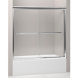 KOHLER Porte de bain coulissante Fluence, 55 3/4 x 54 - 57 po, avec verre Crystal Clear de 1/4 po d'epaisseur