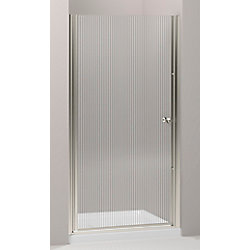 KOHLER Fluence 30.25 in. W Frameless Pivot Shower Door With Falling Lines Glass and Matte Nickel Frame