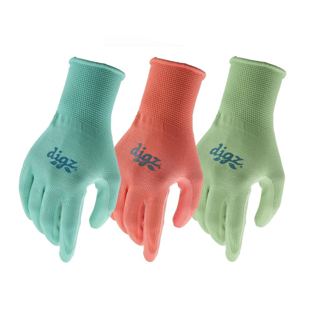 Digz 3 Pk Stretch Knit With Nitrile Coating - M/L