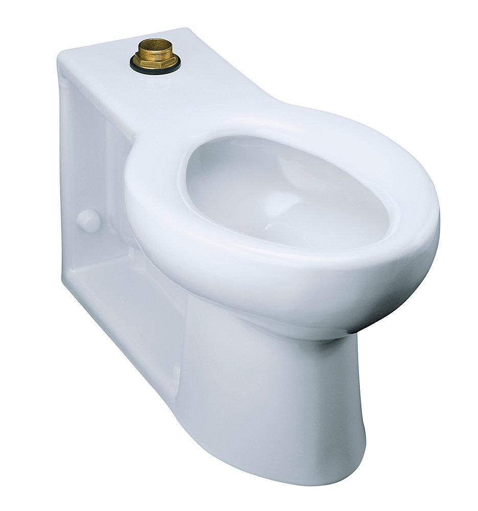 Cuvette de toilette allongee Anglesey, montage au sol, sortie au mur, a  robinet de chasse d\'eau 1,6 gal/chasse avec siege integre et entree  superieure