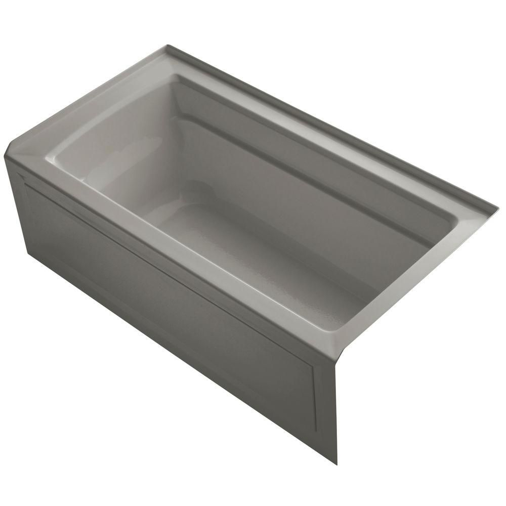 KOHLER Archer 5 Feet Bathtub with Comfort Depth Design, Integral Apron and Right-Hand Drain