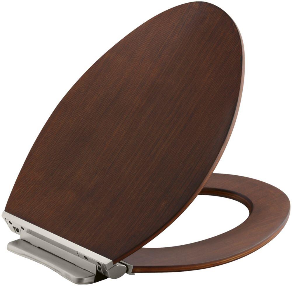 KOHLER Avantis Quiet-Close Elongated Toilet Seat in Wood with Quick-Release Hinges
