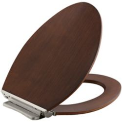 KOHLER Avantis Quiet-Close Elongated Toilet Seat in Wood with Quick-Release Hinges