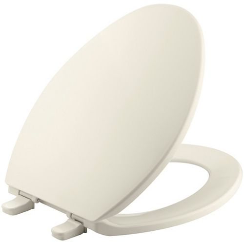 KOHLER Brevia Elongated Closed Front Toilet Seat with Q2 Advantage in Almond