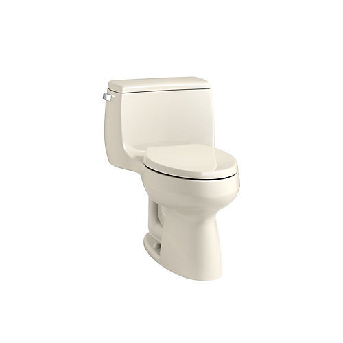 Gabrielle Comfort Height 4.8 LPF 1-Piece Single-Flush Elongated Bowl Toilet in Almond