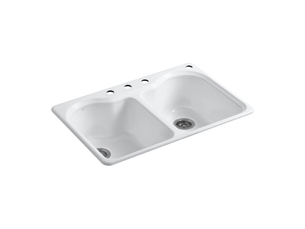 Kohler Delafield Self Rimming Kitchen Sink In White The
