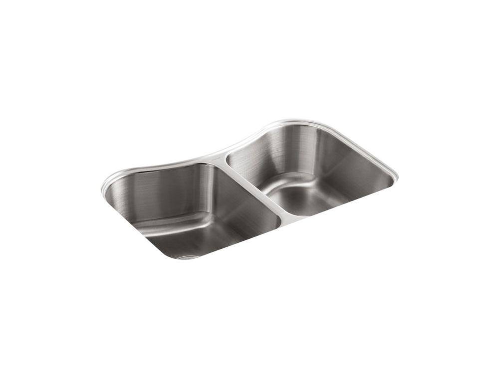 KOHLER Evier de cuisine a double cuvette egale Staccato, en sous-surface, 31 5/8 x 19 9/16 x 8 po