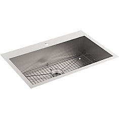 Vault Drop-In/Undermount Stainless Steel 33 in. 1-Hole Single Bowl Kitchen Sink