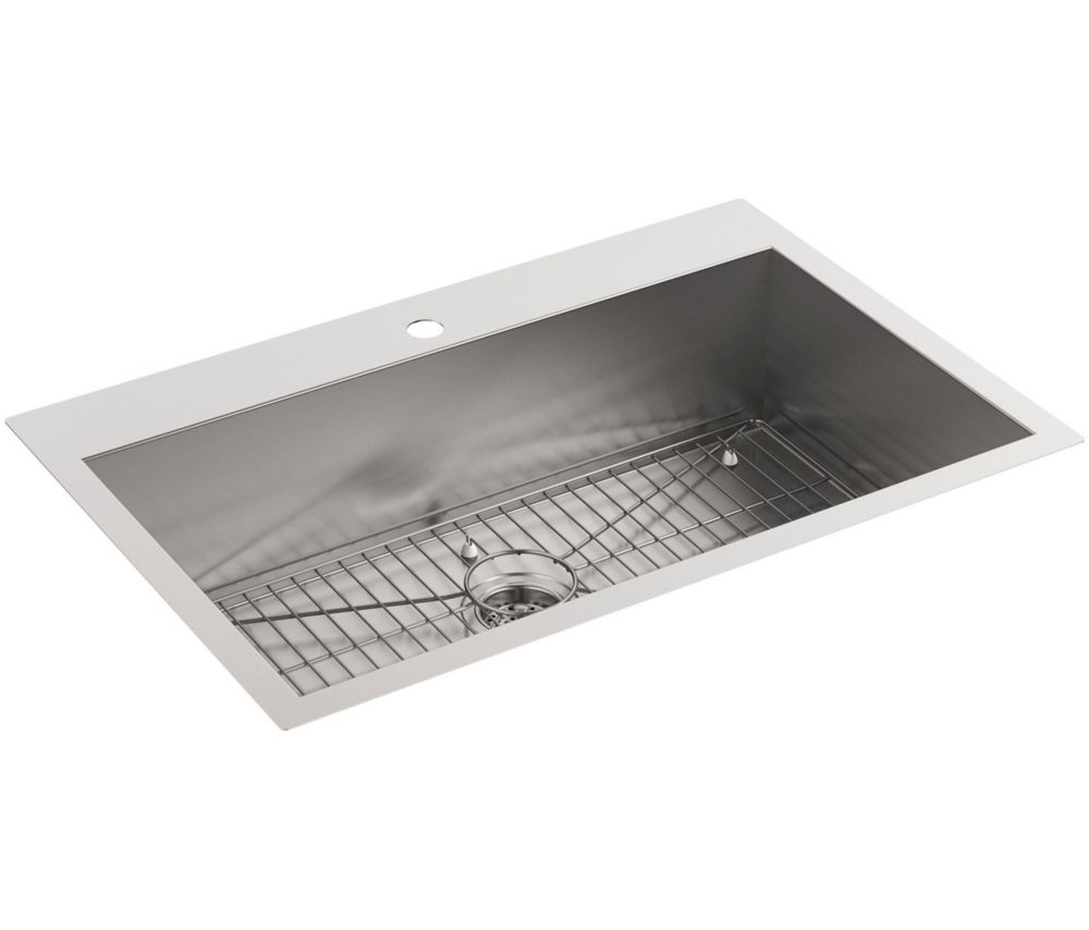 KOHLER Vault Drop-In/Undermount Stainless Steel 33 in. 1-Hole Single Bowl Kitchen Sink