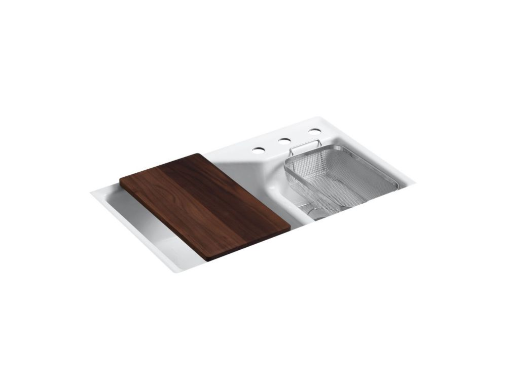 KOHLER Indio(TM) Undercounter Double Offset Basin Kitchen Sink With Three-Hole Faucet Drilling