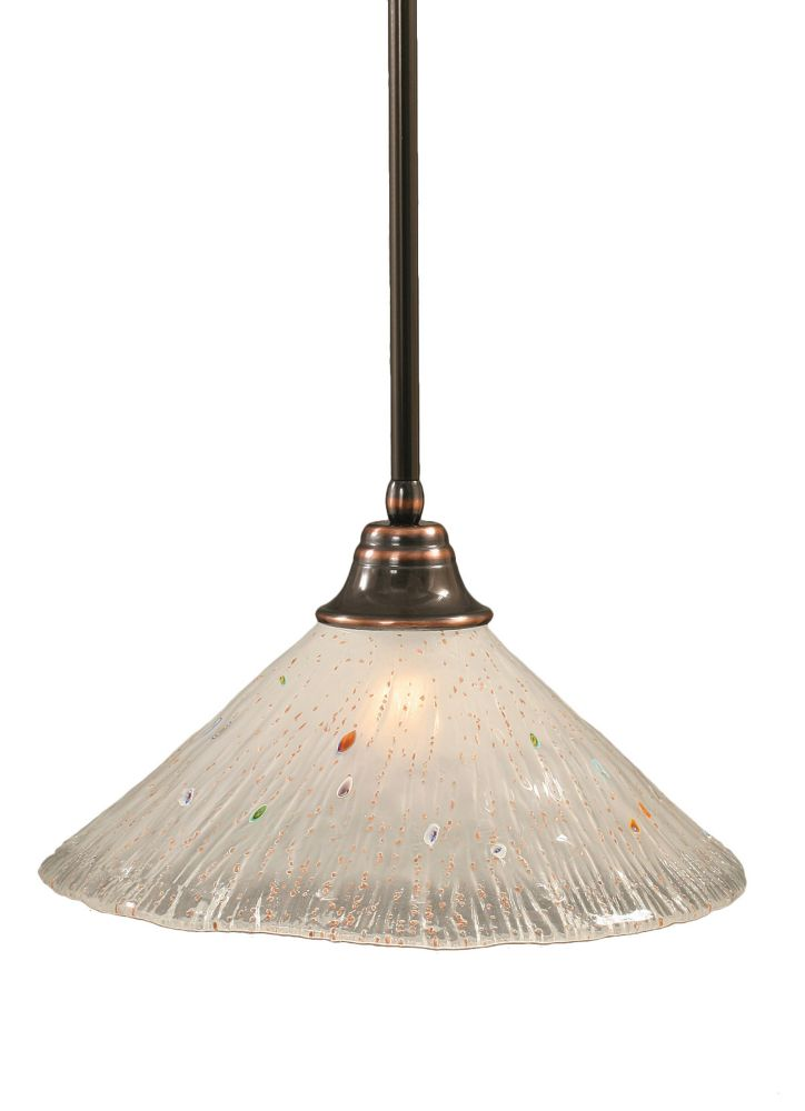 Concord 1 Light Ceiling Black Copper Incandescent Pendant with a Frosted Crystal Glass