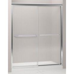 KOHLER Fluence 59-5/8-inch x 70-5/16-inch Frameless Sliding Sliding Shower Door in Silver with Handle