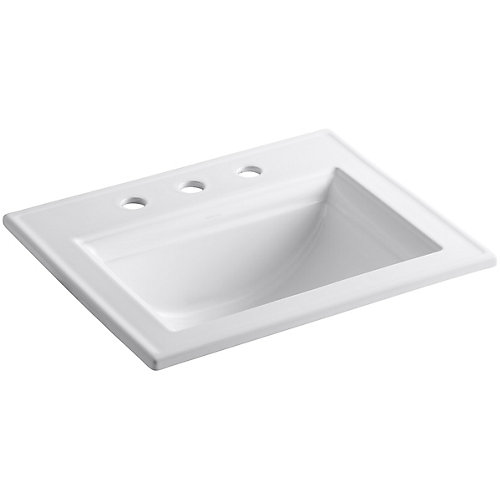 Memoirs(R) Stately drop-in bathroom sink with 8 inch widespread faucet holes