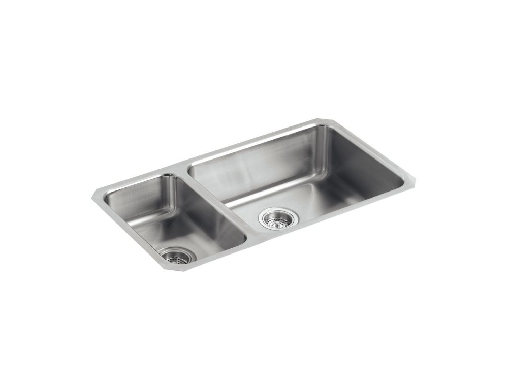 Kohler Undertone R High Low Undercounter Kitchen Sink With Left Basin Depth Of 5 1 2 Inch And