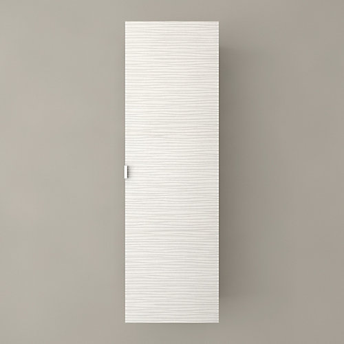 Textures Collection 15-inch W x 48-inch H x 12-1/4-inch D Bathroom Storage Wall Cabinet in White