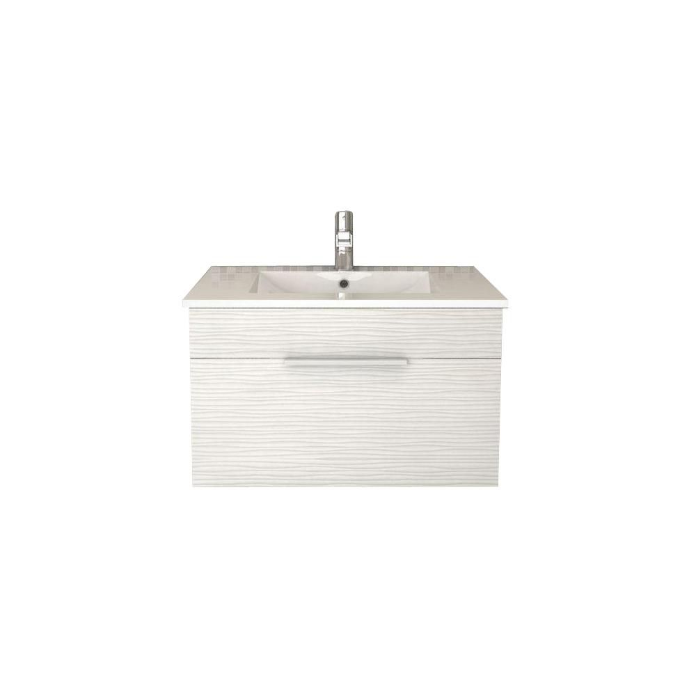 Cutler Kitchen Bath Textures Collection 30 Inch W Wall Hung Vanity In Contour White Finish