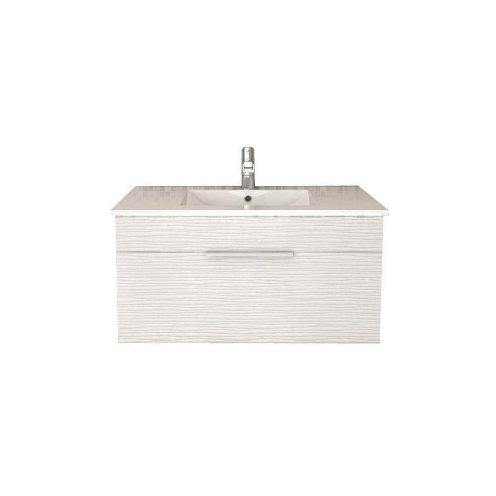 Textures Collection 36-inch W Wall Hung Vanity in Contour White Finish