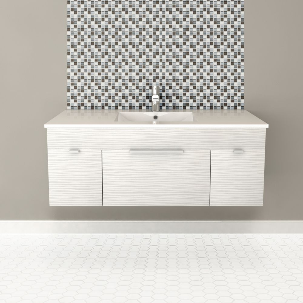 Textures Collection 48-inch W Wall Hung Vanity in Contour White Finish