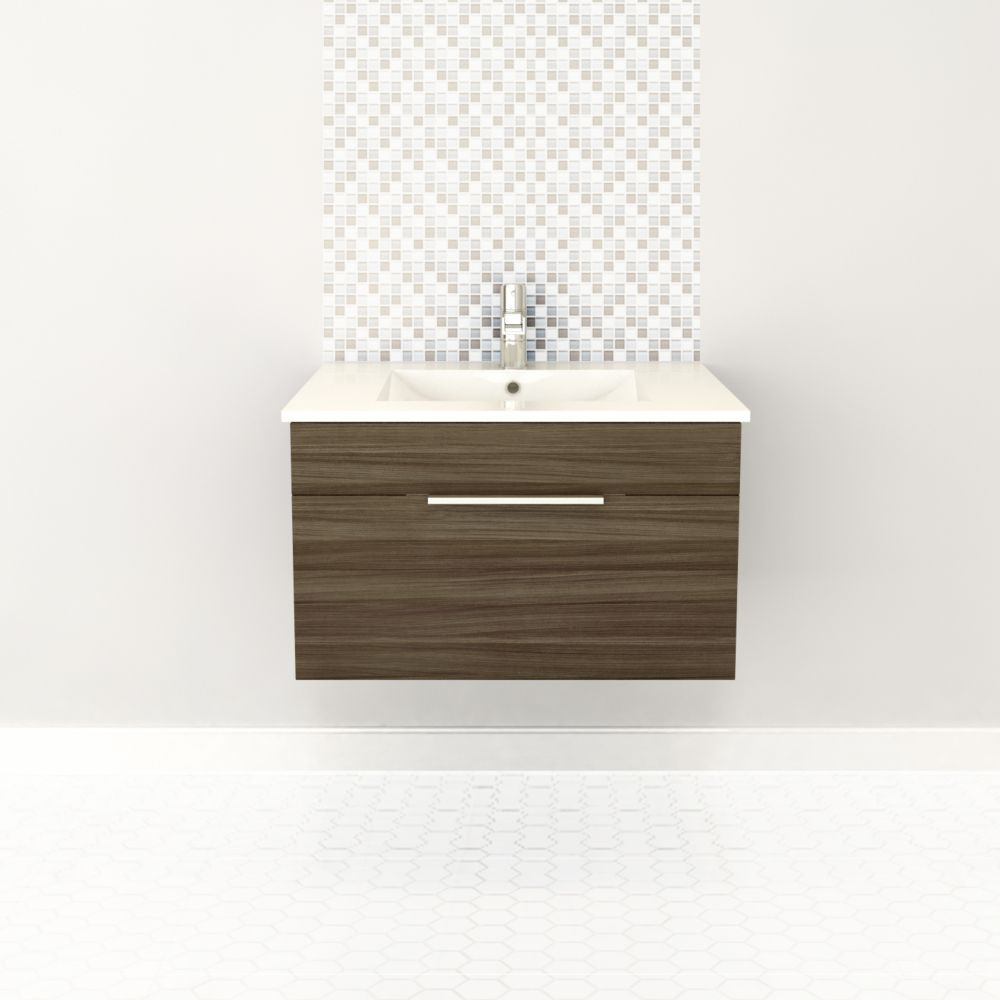 Textures Collection 30-inch W Wall Hung Vanity in Driftwood Finish