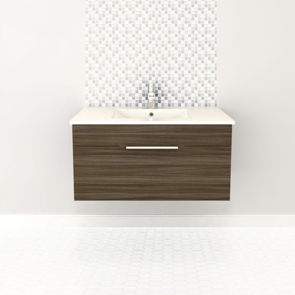 Textures Collection 36-inch W Wall Hung Vanity in Driftwood Finish