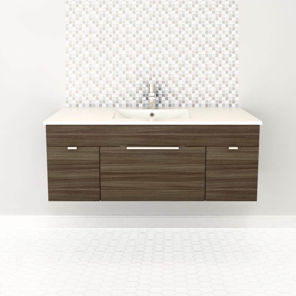 Textures Collection 48-inch W Wall Hung Vanity in Driftwood Finish