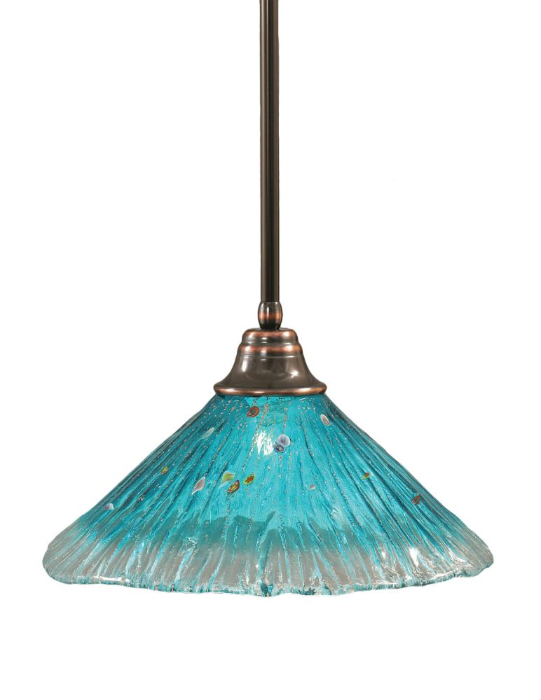 Concord 1 Light Ceiling Black Copper Incandescent Pendant with a Teal Crystal Glass