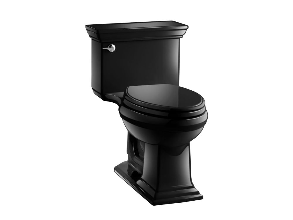 KOHLER Memoirs Comfort Height 1-Piece 4.8 LPF Elongated Toilet with AquaPiston Flushing Technology in Black