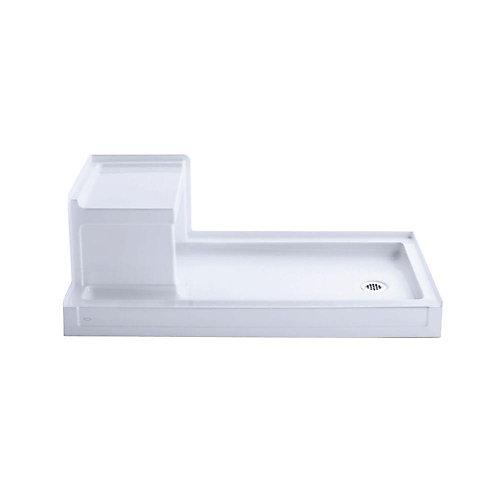 Tresham 60-inch x 32-inch Single Threshold Shower Base with Right Drain in White