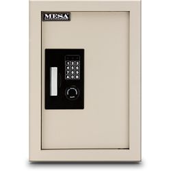 Mesa Safe Company 0.3-0.7 cu. ft. All Steel Adjustable Wall Safe with Electronic Lock, Cream