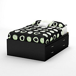 Majestic Captain's Double Bed with Storage in Pure Black
