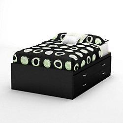 Grand lit noir pur Majestic Captain avec espace de rangement