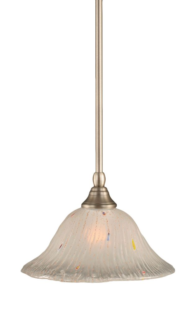 Concord 1 Light Ceiling Brushed Nickel Incandescent Pendant with a Frosted Crystal Glass